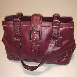Vintage Coach Bag Solid Maroon-red
